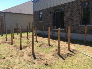 6x6 deck posts dug and set